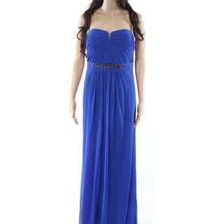 Adrianna Papell Blue Womens Size 10 Embellished Strapless Gown