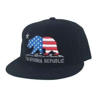 California Republic Snapback Hat Cap - Black USA Flag
