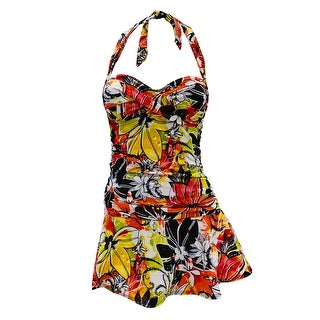Retro Feel Bandeau Twist Front Halter Tie Swimdress in Orange Floral