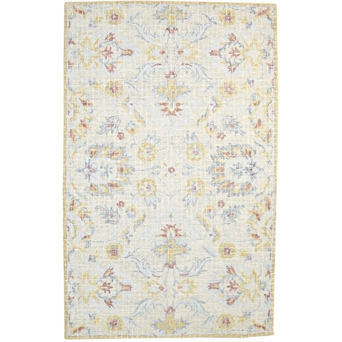 """One of a Kind Hand-Tufted Persian 5' x 8' Floral & Botanical Wool Grey Rug - 4'11""""x7'11"""""""