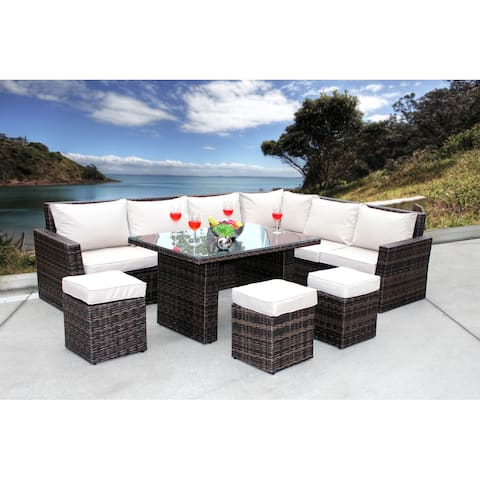 Chelsea 8 Pc. Corner Sectional - Mixed Brown Wicker