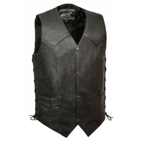 Mens Leather Side Lace Biker Vest with Gun Pocket