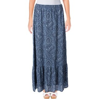 MICHAEL Michael Kors Womens Maxi Skirt Printed Pull On