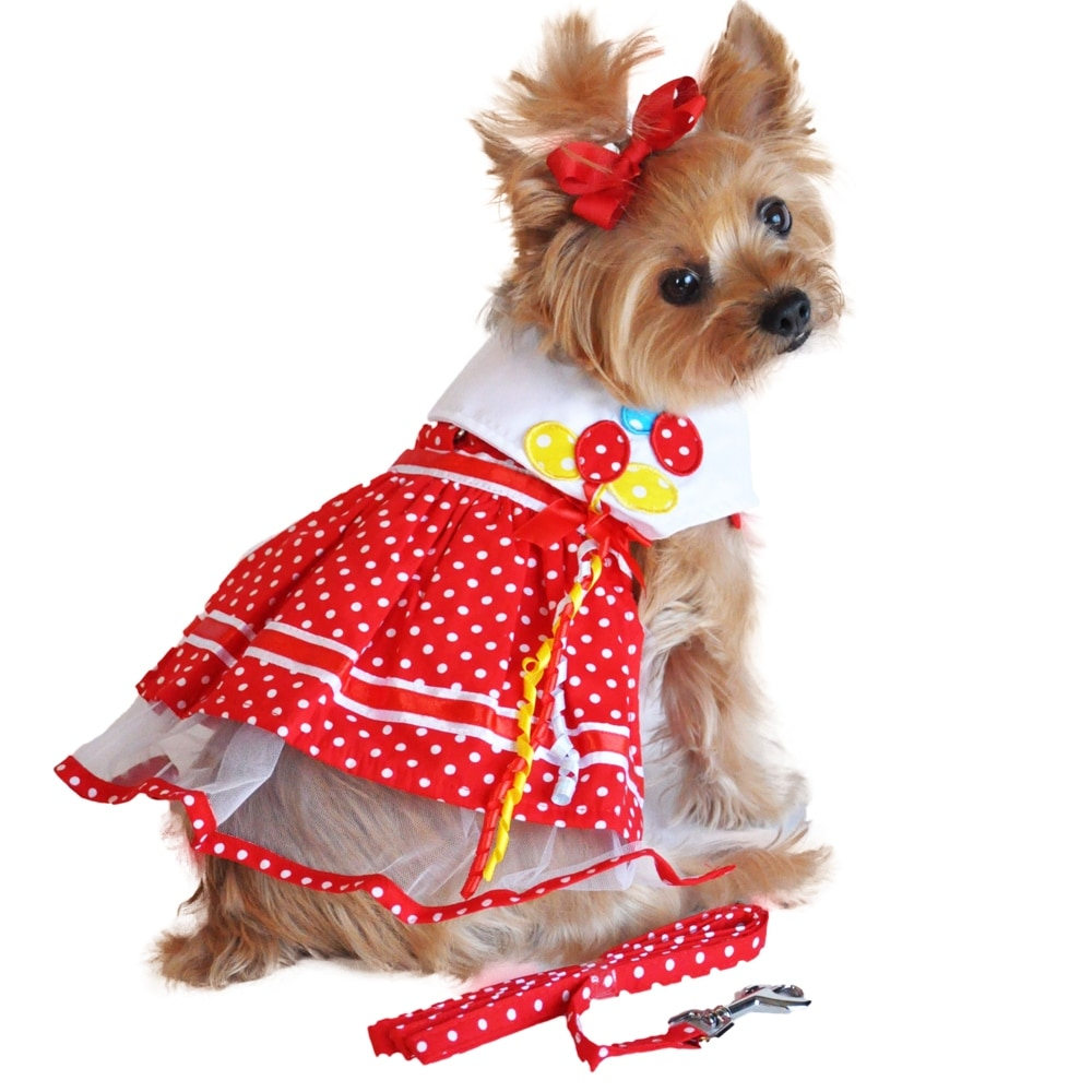Red Polka Dot Balloon Designer Dog Harness Dress (Red - X-Small)