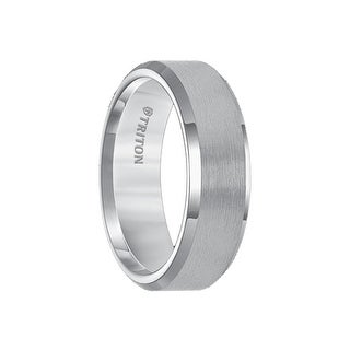 HARVIK Gun Metal Gray Tungsten Carbide Ring with Polished Beveled Edges and Satin Finish Center by Triton Rings - 7mm