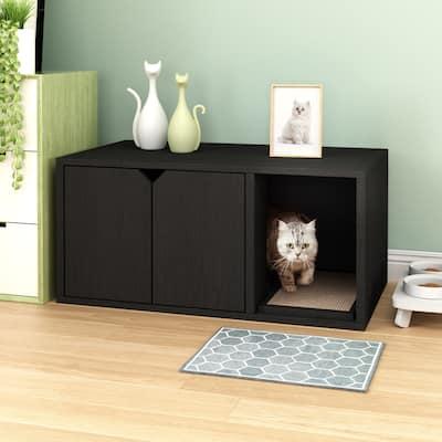 Way Basics Eco Cat Litter Box Enclosure Modern Cat Furniture, Black