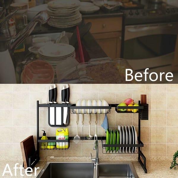 Sink Bowl Plate Dish Drainer Rack Pot Lid Cover Holder Storage Shelf Rack TK PA