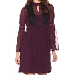 Jessica Simpson Plum Purple Womens Size 10 Lace-Trim A-Line Dress