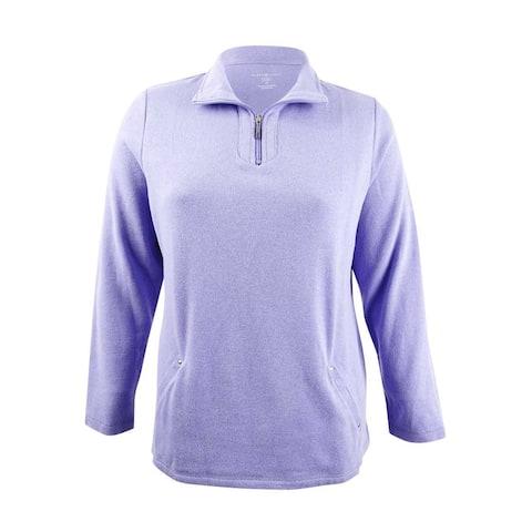 Karen Scott Women's Plus Size Half-Zip Sweatshirt (1X, Purple Bliss) - Purple Bliss - 1X