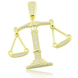 Gold-Tone Silver Scale Pendant Libra Mens 39mm Tall With CZ