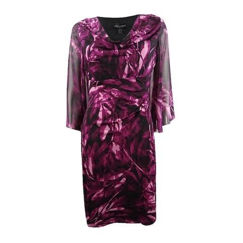 Connected Women's Printed Chiffon-Sleeve Dress - Plum