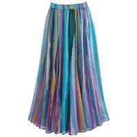 Women's Pastel Stripe Georgette Skirt - Elastic Waist Midi Length