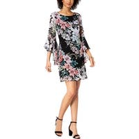 Connected Apparel Womens Cocktail Dress Floral Print Bell Sleeves
