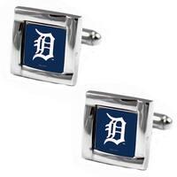 MLB Detroit Tigers Square Cufflinks with Square Shape Logo Design Gift Box Set