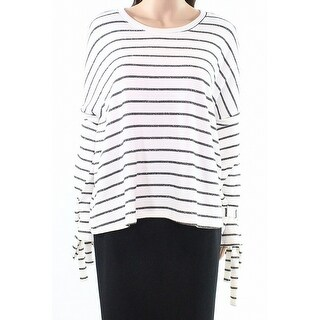 Caslon White Womens Size XS Striped Tie-Sleeve Cold-Shoulder Sweater