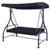 Costway Converting Outdoor Swing Canopy Hammock 3 Seats Patio Deck Furniture Black