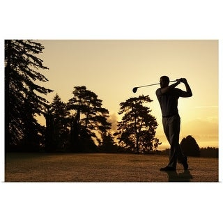 """""""Golfer swinging club on golf course at sunset"""" Poster Print"""