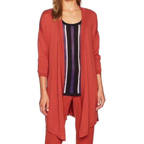 Shop Anne Klein Cinnamon Orange Women Size XL Open-Front Cardigan ... 78203b181