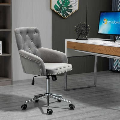 HOMCOM Mid-Back Desk Chair with Nailhead Trim, Button Tufted Back Design, Adjustable Height, Rocking Function and Wheels