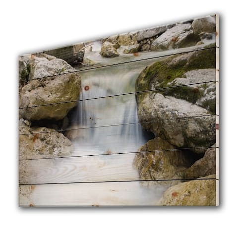 Designart 'Waterfall In Alpine Canyon' Traditional Print on Natural Pine Wood
