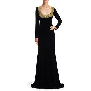 Badgley Mischka Embellished Long Sleeve Velvet Evening Gown Dress Black/Gold - 12