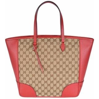 Gucci Women's 449242 Beige Red Large Bree GG Guccissima Purse Handbag Tote