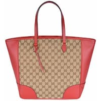 Gucci Women's 449242 Beige Red Large Bree GG Guccissima Purse Handbag Tote