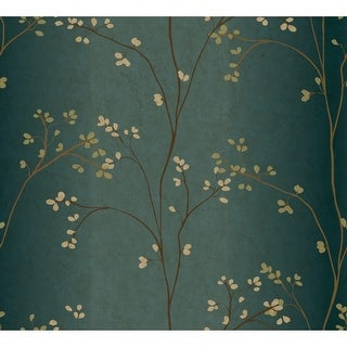 York Wallcoverings BR6224 Blue Book Vertical Blossoms Wallpaper - teal/bronze metallic/powder green - N/A