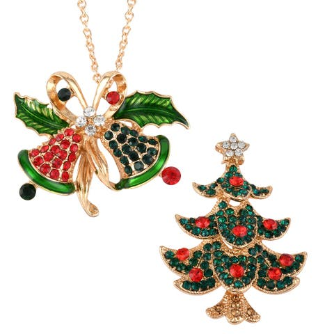 Cubic Zirconia Christmas Bells Tree Brooch Pendant Necklace Size 24 In - Necklace 24''