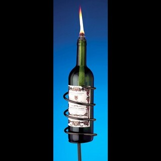 Black Wine Bottle Garden Torch Kit