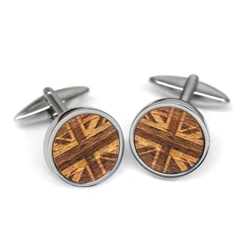 Union Jack Wood Cufflinks - Made from a Tree on Sir Winston Churchill's Estate
