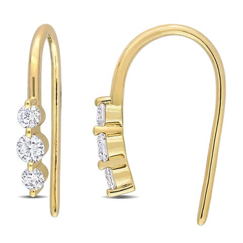 Eternally Yours 3/8ct TW Lab Created Diamond Drop Earrings in 18k Yellow Gold Plated Sterling Silver
