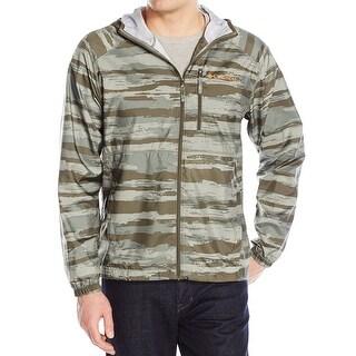 Columbia Green Men Medium M Flash Forward Print Windbreaker Jacket