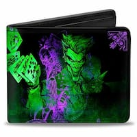 The Joker Card Flipping Poses Black Greens Purples Bi Fold Wallet - One Size Fits most