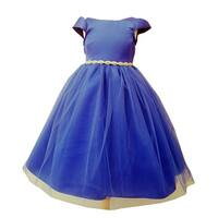 Girls Royal Blue Tulle Overlay Short Sleeve Bejeweled Special Occasion Dress