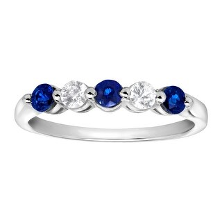 5/8 ct Created Blue & White Sapphire Band Ring in 10K White Gold