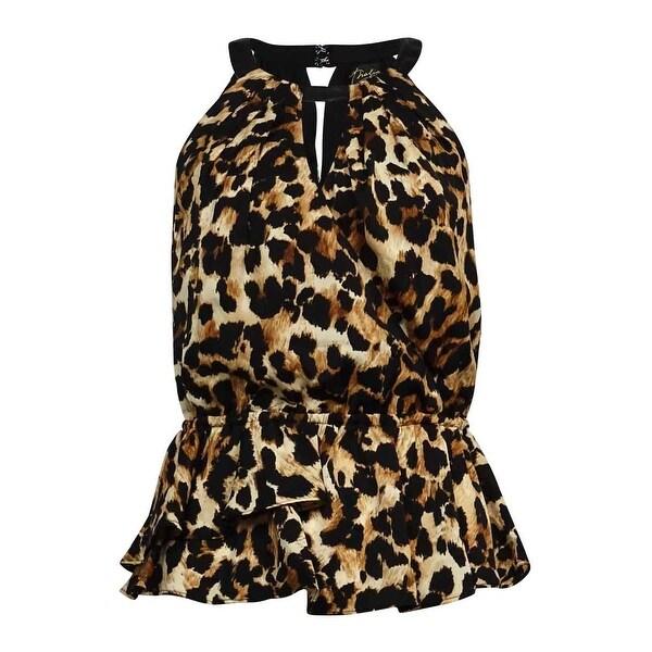 Thalia Sodi Women's Animal Print Halter Keyhole Blouse - Leopard