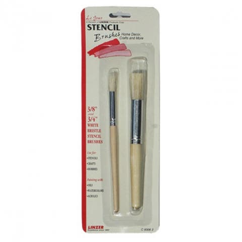 Linzer C-9306-2 Maestra Stencil Brush Set w/ Natural White Bristles, 2-Piece
