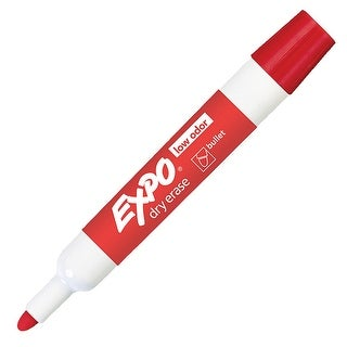 Expo Low Odor Non-Toxic Dry Erase Marker, Bullet Tip, Red, Pack of 12