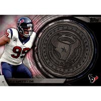 Signed Watt JJ Houston Texans JJ Watt 2014 Topps Kickoff Coin Unsigned Football Insert Card autogra