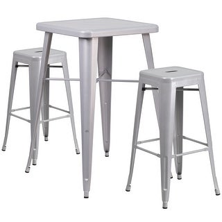 Brimmes 3pcs Square 23.75'' Silver Metal Table w/2 Square Seat Backless Barstool