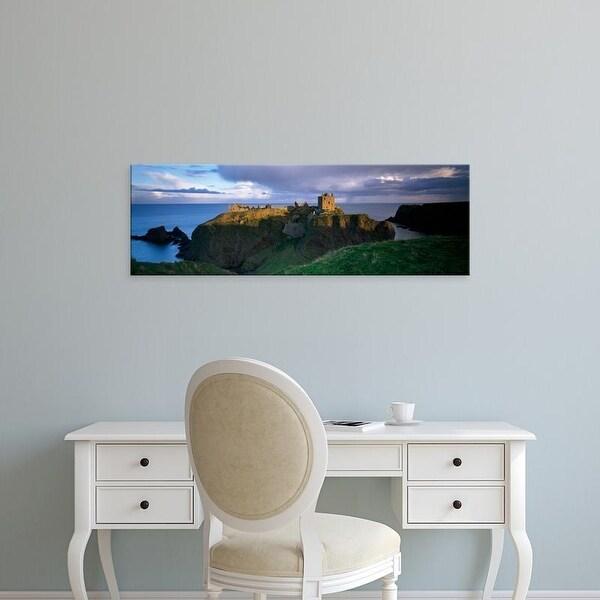 Easy Art Prints Panoramic Image 'View of a castle, Dunnottar Castle, Grampian, Stonehaven, Scotland' Canvas Art