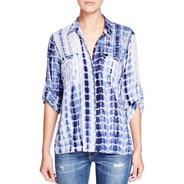 4Our Dreamers Womens Button-Down Top Adjustable Sleeves Tie Dye