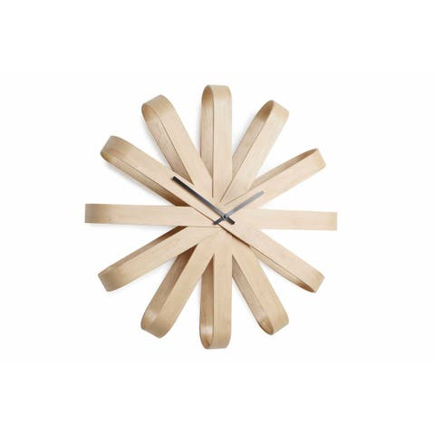 "Umbra 118071-390 20"" Diameter Ribbonwood Wood Analog Accent Clock with Quiet Sweeping Movement - Natural"