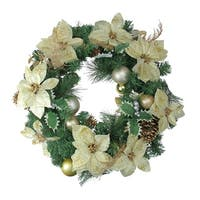 Gold Poinsettia and Pinecone Artificial Christmas Wreath - 24-Inch, Unlit