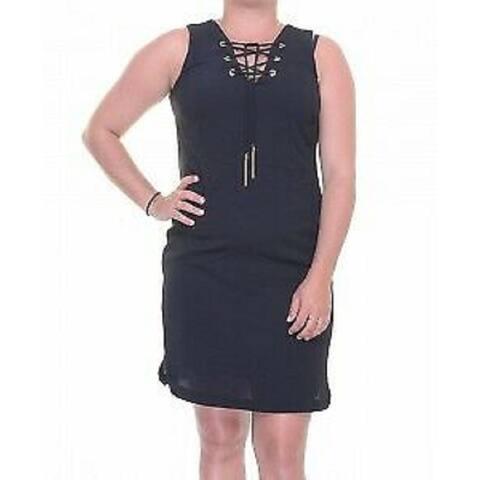 INC International Concepts Petite's Lace-Up Sheath Dress, Deep Black (2P) - 2 Petite