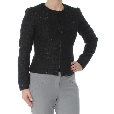 ANNE KLEIN Womens Black Sequined Flyaway Blazer Jacket Size: 2