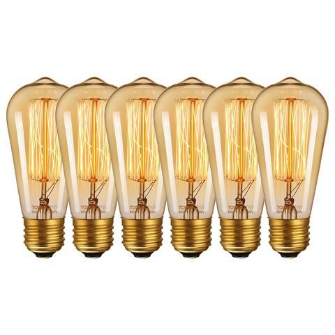 Antique Edison ST64 Incandescent Bulbs, 60W, 6 Pack - 2200K Amber Light