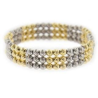 Mcs Jewelry Inc Sterling Silver Gold Plated Three Row Diamond Cut Beads Stretch Bracelet - Multi