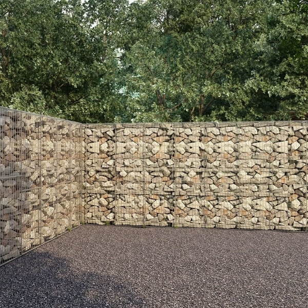 """vidaXL Gabion Wall with Covers Galvanised Steel 236.2""""x11.8""""x78.7"""". Opens flyout."""